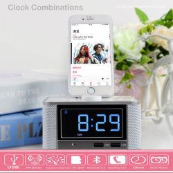 스마트 데스크 시계에는 Blue Tooth 스피커 FM 라디오 오디오가 결합되어 있습니다 듀얼 USB 스누즈 I 폰 및 Android에서 일반적으로 사용되는 파워 충전기 및 이중 알람