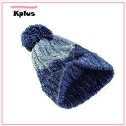 L'hiver en tricot jacquard personnalisé Beanie casquettes avec haut ballon POM Poms Commerce de gros