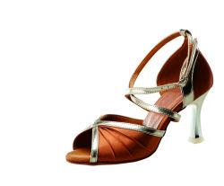 Nouveau Café avec l'or bordé de haut talon Tango Latin Jazz Chaussures de danse salsa sandale pour les femmes