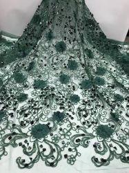 Nigeria flor 3D de cordones cordones bordado tul nupcial tejido vestido de novia
