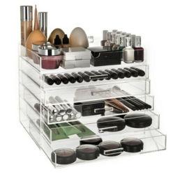 Maquillaje cosmético acrílico Caja organizador cajones con tapa