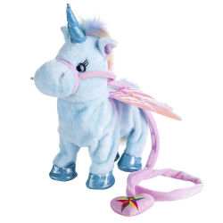 Caminar eléctrico de juguete de peluche Unicornio Caballo de juguete de peluche suave cantar la música electrónica de juguete unicornio
