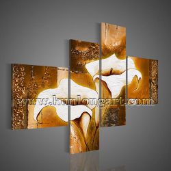 Home Decoration (KLFL4-0026)のための金Calla Lily Flower Oil Painting