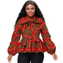 아프리카 여자의 인쇄된 최고 긴 소매 형식 우연한 상단