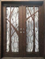 Hoogwaardige decoratieve, smeedijzeren deur aan de voorzijde met Gehard glas