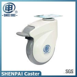 Больничной койки 100мм PU штока с резьбой поворотного медицинских самоустанавливающееся колесо (80C13-1704)