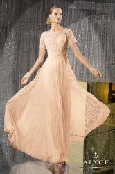 Großhandelsbankett-Abend-Kleid-Kurzschluss-Hülsen-Champagne-Spitze-Oberseite-Abschlussball-Hochzeits-Kleid