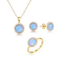 Terminais banhados a ouro Man-Made Fogo Sintético Opal mulheres conjunto de jóias