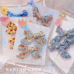 아기 어린 소녀를 위한 2개의 PCS 귀여운 Ins 일본식 꽃 Bowknot 머리핀