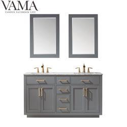 Vama vanità bianca della stanza da bagno del lavandino da 60 pollici doppia con lo specchio del blocco per grafici di legno in Cina 531060
