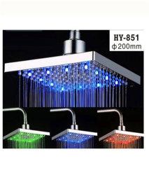 Changement de température de l'eau de pluie carré 3 LED de couleur de la tête de douche