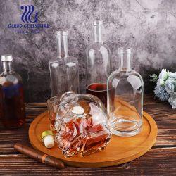 Skull Design 750ml 유리 데칸터 와인 병 소다 라임 유리 위스키 Lid Vodka 안경 홀더