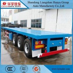 트럭은 40ft 컨테이너 4차축을 사용합니다. 평탄층/플랫폼 트럭 트레일러(Liftaxle 포함