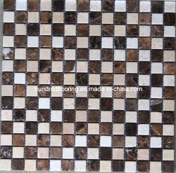 クリーム色のMarfilおよびDark Emperador Marble Mosaic Tile (HSM119)