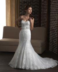 [مرميد] [أبّليقوس] زفافيّ [ودّينغ غون] بيضاء [أرغنزا] عرس ثوب