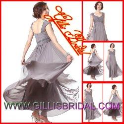 2012の新しくセクシーな細い肩ひもの帝国によってプリーツをつけられる軽くて柔らかいパーティー向きのドレスのプロムのイブニング・ドレス(Gillis1393)