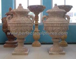 Vaso di fiore di marmo di pietra intagliato oggetto d'antiquariato decorativo domestico per la decorazione dell'interno (QFP268)