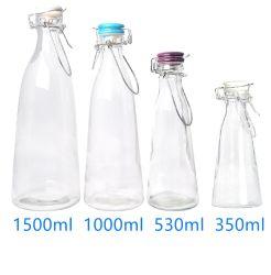 Giro de vidrio de 1L Botella con cerámica Clip Contenedor de almacenamiento de bebidas de leche la botella de cerveza, bebidas