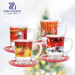 Regalo de navidad de diseño de la etiqueta Creative té Cristal conjunto de taza de café