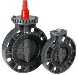 صمام الفراشة الكهربائية البلاستيكية القياسي JIS ANSI DIN عالي الجودة وحدة تحكم المشغل الهوائية غير المحفَّط من نوع PVC صمام الفراشة UPVC صمام الفراشة