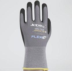 15gauge Nylon Spandex Grau Garn Strickschale mit Palm beschichtet Schwarze Sandy Nitril-Arbeitsschutzhandschuhe