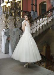 Spitze-Hochzeits-Ballkleid-blosse Spitze-Tee-Längen-Brauthochzeits-Kleid-Weiß-Organza Vestidos Abend-Kleid