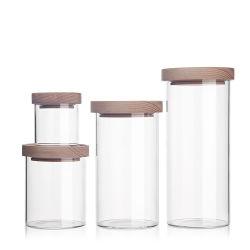 prix d'usine Classic Grande salle de bain en coton décoratifs Jar de la cartouche de l'Organiseur de stockage de la bouteille en verre pot avec couvercle en bois de bambou