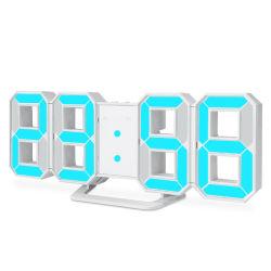 3D 8 forme mur de LED numérique Desk Tableau horloge temps d'alarme avec fonction de rappel