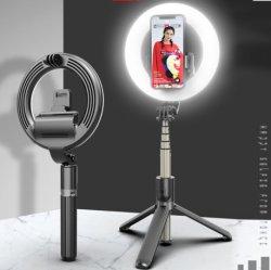 Nueva llegada de la belleza de la luz de relleno de trípode Selfie Selfie Stick Stick con mando a distancia inalámbrico portátil con Bluetooth Selfie barra telescópica Stick
