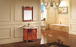 De antieke Hand Carved&#160 van het Ontwerp; Eiken Hout Single Basin Het Kabinet van de badkamers met Spiegel