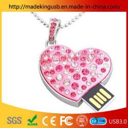 Forme de coeur lecteur Flash USB/métal+Crystal stick USB