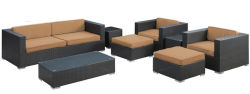 Prix de gros de haute qualité Jardin patio moderne de la résine de mobilier de jardin en rotin canapé en osier défini