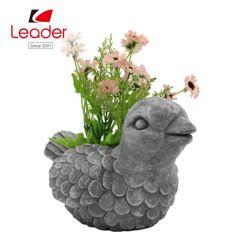 Aves de color cemento Polyresin Figurita maceta para jardín sembradora