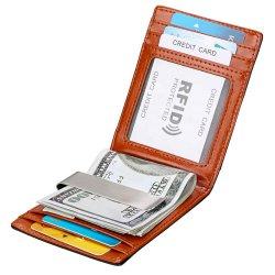 Bifold minimalista Siim Wallet, el dinero de bloqueo de RFID de cuero Clip Wallet con caja de regalo