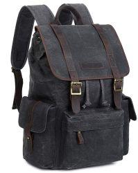 Sac en toile cirée, cuir imperméable Schlool Vintage Collège de sac à dos Sac à dos unisexe camping occasionnel Daypack sacoche pour ordinateur portable