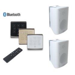 接触キーおよび2つの壁のスピーカー、サポートUSB、TFが付いているスマートなホーム可聴周波Bluetooth音楽システム2X25W無線壁に取り付けられたアンプ