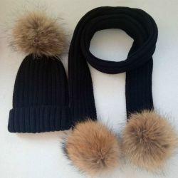 Les femmes de l'hiver chaud raton-laveur réel de la fourrure écharpe à billes