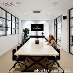 금속 다리 기초 현대 호화스러운 지능적인 백색 인공적인 아크릴 석영 Corian 돌 대리석 작은 소형 직사각형 모양 회의 책상을%s 가진 회의 책상