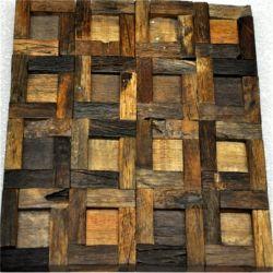 Mosaïque des panneaux muraux en bois massif, pièce de bois de bateau recyclée Panneau mural