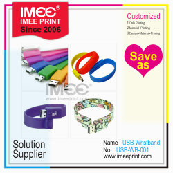 La impresión de logotipo personalizado Imee 1t-2t nombre de pluma Pulsera Flash tarjeta Memory Stick USB de plástico disco
