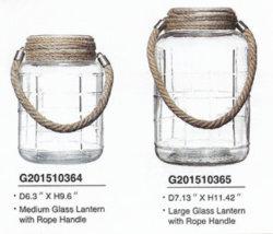 De machine Gemaakte Geribbelde Lantaarn van het Glas met het Handvat van het Metaal