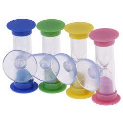 Logotipo personalizado 2 minutos de reloj de arena Reloj de arena Sandglass Cepillo de Dientes para el temporizador de ducha con ventosa Kid Niño juguetes de aprendizaje de matemáticas