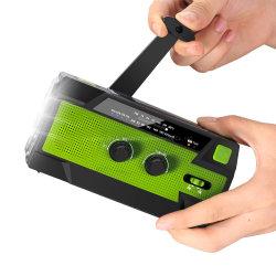 Solar de emergencia multifunción de manivela de la radio con brillante LED linterna y cargador de teléfono