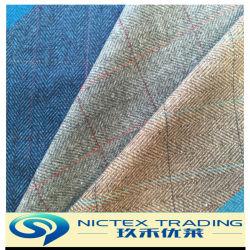 La lana de 80% de Nylon 20% de tejido de abrigo de tweed de lana
