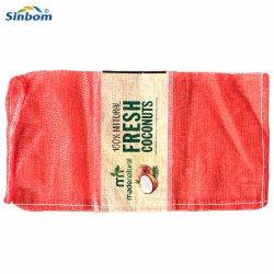 まきのための網袋、タマネギの包装の網袋、HDPEの単繊維の野菜網袋、PPの円のプラスチックパッキングポテトのタマネギのための赤いレノの網袋