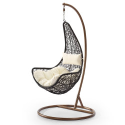 卵デザイン携帯用テラスの藤の振動椅子の屋外の藤の家具