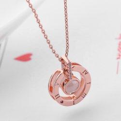 2020の方法バレンタインデーのギフト100の言語愛メモリI愛投射の銀製のローズの金の女性のネックレスの宝石類
