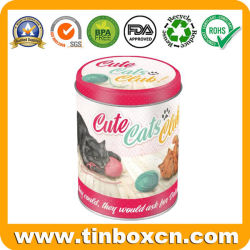 금속 애완 동물 먹이는 둥근 고양이 건빵을%s 주석 상자를 취급한다