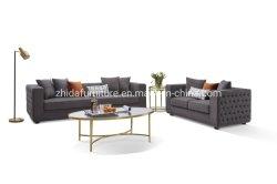Mobilier contemporain Chesterfield canapé en velours gris tissu Salon canapé