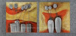 Pintura a óleo de laranja modernos, decoração de flores de alumínio